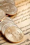 Pièces de monnaie du dollar Images libres de droits