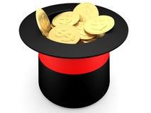Pièces de monnaie du dollar d'or à l'intérieur du chapeau d'un magicien illustration libre de droits
