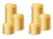 Pièces de monnaie du dollar d'or Photos libres de droits