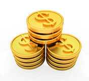 Pièces de monnaie du dollar d'or Image stock