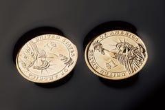 pièces de monnaie du dollar dans le pétrole brut photos libres de droits