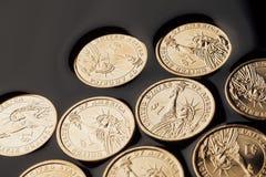 pièces de monnaie du dollar dans le pétrole brut images libres de droits
