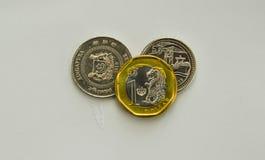 Pièces de monnaie du dollar de Singapour Photos libres de droits