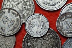 Pièces de monnaie du Népal Images stock