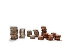 Pièces de monnaie empilées économisant le concept Photographie stock libre de droits