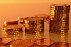 Pièces de monnaie empilées Image stock