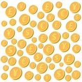 Pièces de monnaie en baisse Photo stock