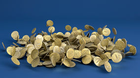 Pièces de monnaie en baisse de rouble russe Photo libre de droits