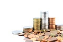Pièces de monnaie en cuivre argentées et Photo stock
