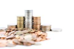Pièces de monnaie en cuivre argentées et Photos stock