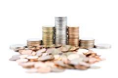 Pièces de monnaie en cuivre argentées et Images stock