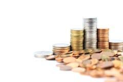 Pièces de monnaie en cuivre argentées et Photographie stock