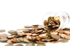Pièces de monnaie en cuivre argentées et Photographie stock libre de droits