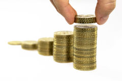 Pièces de monnaie en hausse image stock