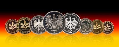 Pièces de monnaie ensemble, penny, gradient de marque allemande de l'Allemagne de fond images stock