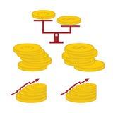Pièces de monnaie et éléments de finances Photo stock