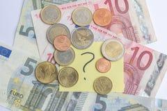 pièces de monnaie et argent Photo libre de droits
