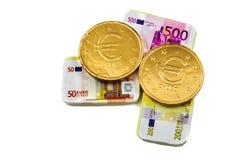 Pièces de monnaie et billets de banque de chocolat Images stock