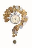 Pièces de monnaie et chronomètre Photographie stock