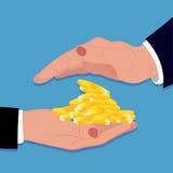 Pièces de monnaie et mains, investissement sûr, soin, argent, illustration de vecteur Photos libres de droits