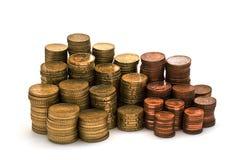 Pièces de monnaie et plus de pièces de monnaie. Photographie stock