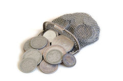 Pièces de monnaie et pochette de pièce de monnaie Photo libre de droits