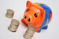 Pièces de monnaie et porcin Images libres de droits