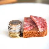 Pièces de monnaie et salami Photos stock