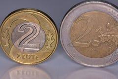 Pièces de monnaie EUR et PLN Photo stock