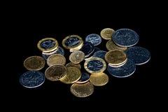 Pièces de monnaie françaises (francs français) - noir Photos stock