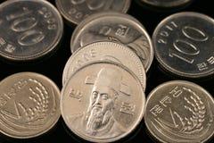Pièces de monnaie gagnées sud-coréennes images stock