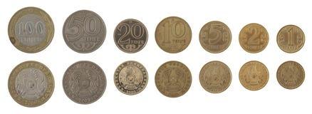 Pièces de monnaie kazakhs d'isolement sur le blanc Photographie stock libre de droits