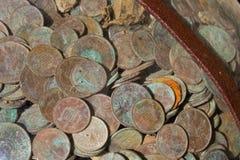 Pièces de monnaie médiévales d'argent Photographie stock libre de droits