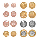 Pièces de monnaie modernes de Belarusissian Inverse et face de vecteur Argent biélorusse Kopeyka et rouble Photos stock