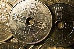 Pièces de monnaie norvégiennes photographie stock libre de droits