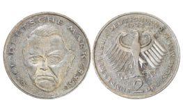 Pièces de monnaie de ` de pays vieilles, année 1976, Allemagne photos libres de droits