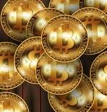 Pièces de monnaie réalistes de cryptocurrency de bitcoin de vecteur Pièce de monnaie physique de peu Devise de Digital Pièce de m illustration de vecteur