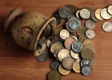 Pièces de monnaie retirées Photographie stock