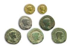 Pièces de monnaie de Roman Emperor Gordian III, C.A. 243 photographie stock libre de droits