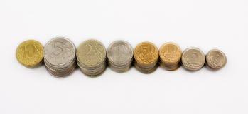 Pièces de monnaie russes en métal Photographie stock