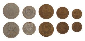 Pièces de monnaie soviétiques de Kopek d'isolement sur le blanc Photographie stock libre de droits