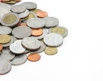 Pièces de monnaie sur le fond blanc Images libres de droits