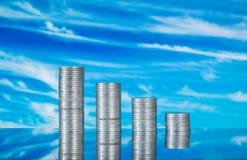 Pièces de monnaie sur le verre Photos stock