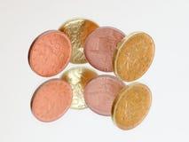 Pièces de monnaie tchèques utilisées sur le miroro Images libres de droits