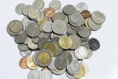 Pièces de monnaie thaïes de baht Photos libres de droits