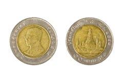 10 pièces de monnaie thaïes de baht Photographie stock libre de droits