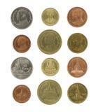 Pièces de monnaie thaïlandaises d'isolement sur le blanc Image stock