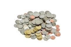 Pièces de monnaie thaïlandaises, devise, bain, d'isolement Photographie stock
