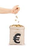 Pièces de monnaie tombant de la main dans le sac avec des pièces de monnaie Images libres de droits
