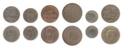 Pièces de monnaie turques d'isolement sur le blanc Photos libres de droits